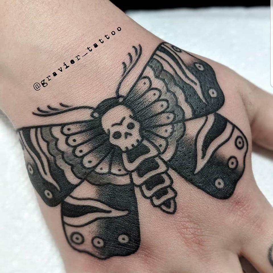 tattoo, tatouage, moth tattoo, black work, black tattoo, hand